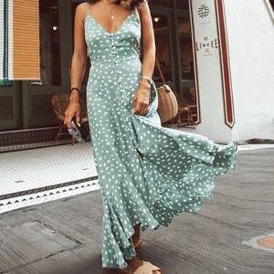Boho Flowy Polka Dot Maxi Dress